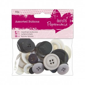 Assorted Buttons (50g) - Monochrome