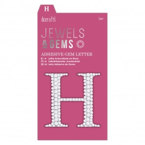 Adhesive Gem Letter - H - Jewels & Gems