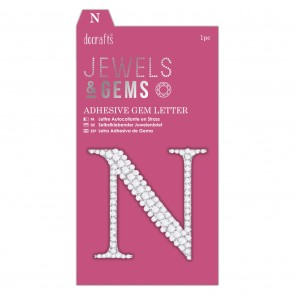 Adhesive Gem Letter - N - Jewels & Gems
