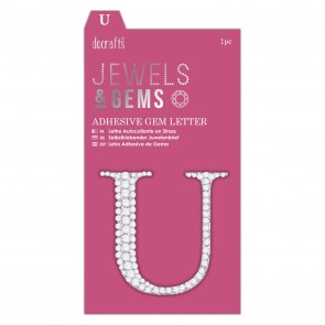 Adhesive Gem Letter - U - Jewels & Gems