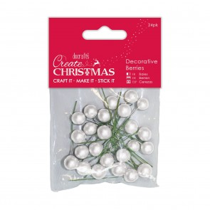 Decorative Berries (24pk) - Frosted White