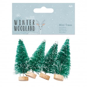 Snow Tipped Mini Trees (4pk) - Winter Woodland