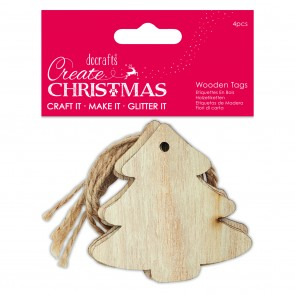 Wooden Tags (4pcs) - Tree - Create Christmas