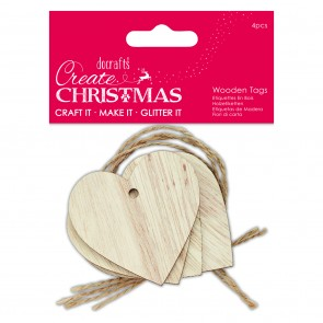 Wooden Tags (4pcs) - Heart - Create Christmas