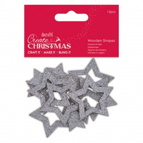 Wooden Shapes (12pcs) - Silver Star - Create Christmas