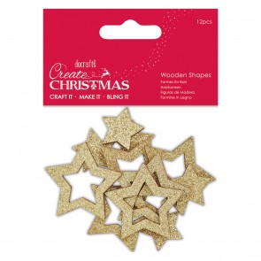 Wooden Shapes (12pcs) - Gold Star - Create Christmas