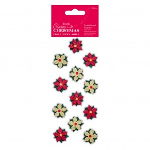 Embellished Toppers (12pcs) - Poinsettias - Create Christmas