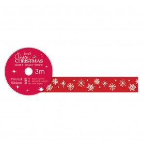 Printed Ribbon (3m) - Red Snowflakes