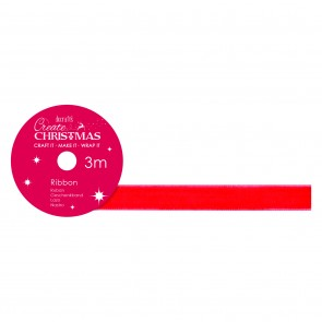 Velvet Ribbon (3m) - Red - Create Christmas