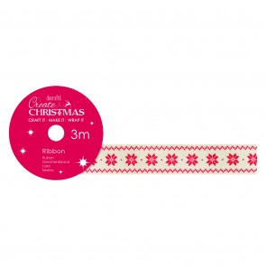 Cotton Christmas Ribbon (3m) - Snowflake - Create Christmas