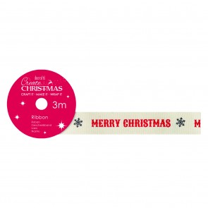Cotton Christmas Ribbon (3m) - Merry Christmas - Create Christmas