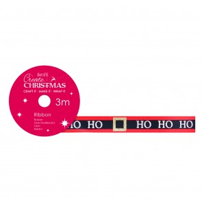 Satin Christmas Ribbon (3m) - Ho Ho Ho - Create Christmas