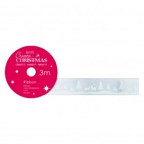 Satin Christmas Ribbon (3m) - Snow Scene - Create Christmas
