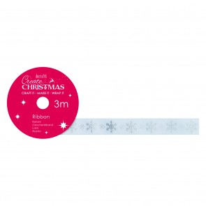 Satin Christmas Ribbon (3m) - Snowflake - Create Christmas
