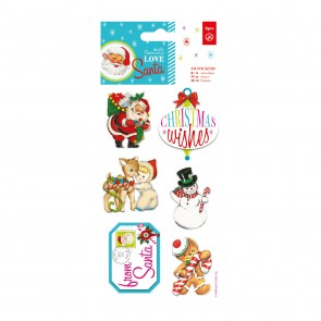 3D Stickers (6pcs) - Love Santa