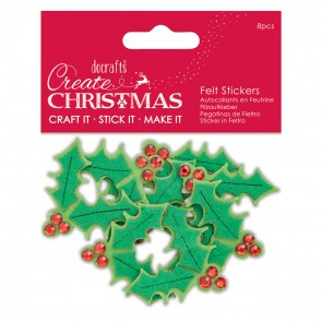 Felt Holly Stickers (8 pcs) - Create Christmas