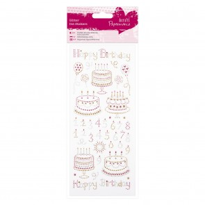 Glitter Dot Stickers - Happy Birthday