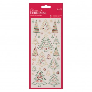 Glitter Dot Stickers - Christmas Trees