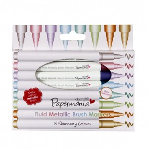 Brush Marker Fluid Metallic (8pk) - Assorted Colours