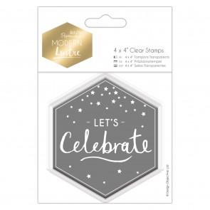 "4 x 4"" Clear Stamp - Modern Lustre - Let's Celebrate"