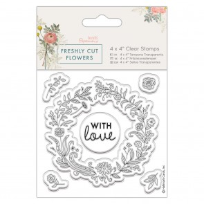"4 x 4"" Clear Stamp - Freshly Cut Flowers - Floral Wreath"