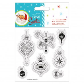 "4 x 4"" Clear Stamps - Love Santa - Baubles"
