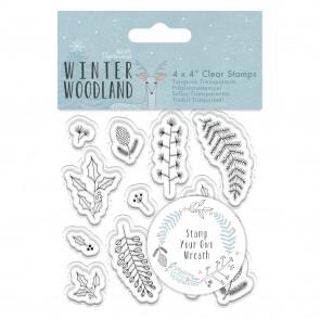 "4 x 4"" Clear Stamp - Winter Woodland - Wreath"