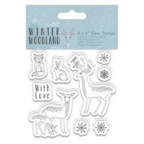 "4 x 4"" Clear Stamp - Winter Woodland - Animals"