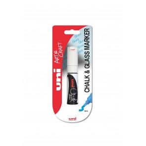 PWE-8K uni Chalk Marker Broad Chisel Tip 1pc Blister White