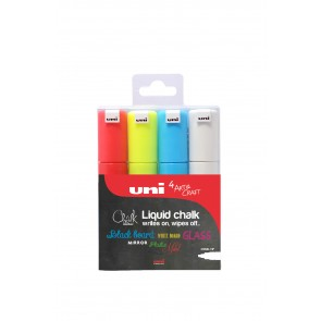 PWE-8K uni Chalk Marker Broad Chisel Tip 4pc Box Assorted