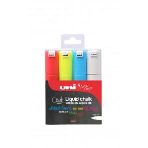 PWE-8K uni Chalk Marker Broad Chisel Tip 4pc Pack Assorted