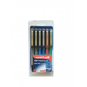 UB-185S Eye Needle 0.5mm Rollerball Pen 6pc Clampack Assorted
