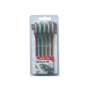 UM-120NM Signo Metallic Gel 0.7mm Rollerball Pen 5pc Clampack Gold, Silver, Bronze, Red, Green
