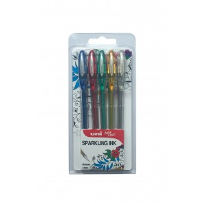 UM-120SP Signo Sparkling Gel 0.7mm Rollerball Pen 5pc Clampack Assorted