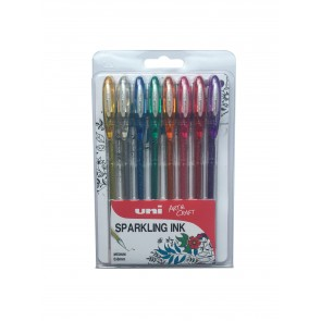 UM-120SP Signo Sparkling Gel 0.7mm Rollerball Pen 8pc Clampack Assorted
