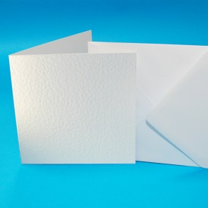 "6x6"" Hammered Cards & Envelopes White (50 Pack)"