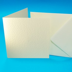 "6x6"" Hammered Cards & Envelopes Ivory (50 Pack)"