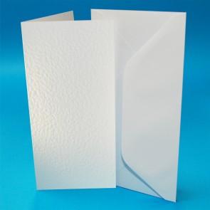 DL Hammered Cards & Envelopes White (50 Pack)