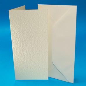 DL Hammered Cards & Envelopes Ivory (50 Pack)