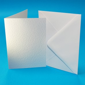 A6 Hammered Cards & Envelopes White (50 Pack)
