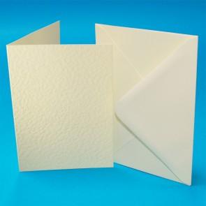 A6 Hammered Cards & Envelopes Ivory (50 Pack)