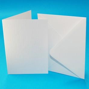 A6 Linen Cards & Envelopes White (50 Pack)
