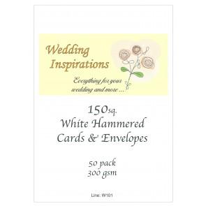 """6x6"""" Hammered Cards & Envelopes White (50 Pack)"""