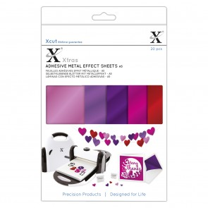 Xcut Xtras' A5 Adhesive Metal Effect Sheets (20pcs) - Pinks