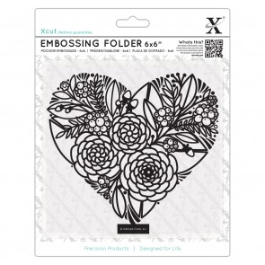 "6 x 6""  Embossing Folder - Floral Heart"