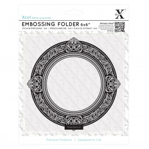 "6 x 6"" Embossing Folder - Round Gilt Frame"