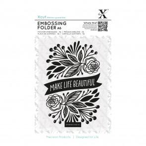 A6 Embossing Folder - Make Life Beautiful