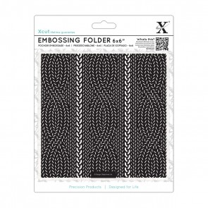 "6 x 6"" Embossing Folder - Cable Knit Pattern"