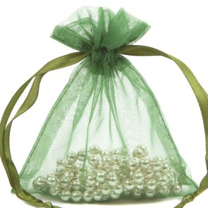 Organza Bag 7X9cm (10 Pack) Green