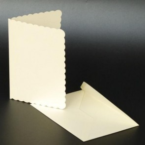 C5 Cards & Envelopes Scalloped Ivory (25 Pack)